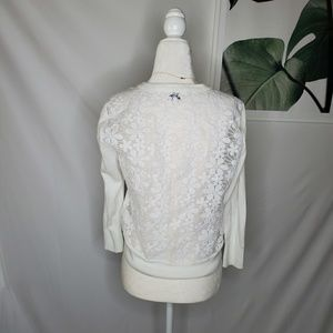 Crown & Ivy White Floral Lace Sheer Back Cardigan